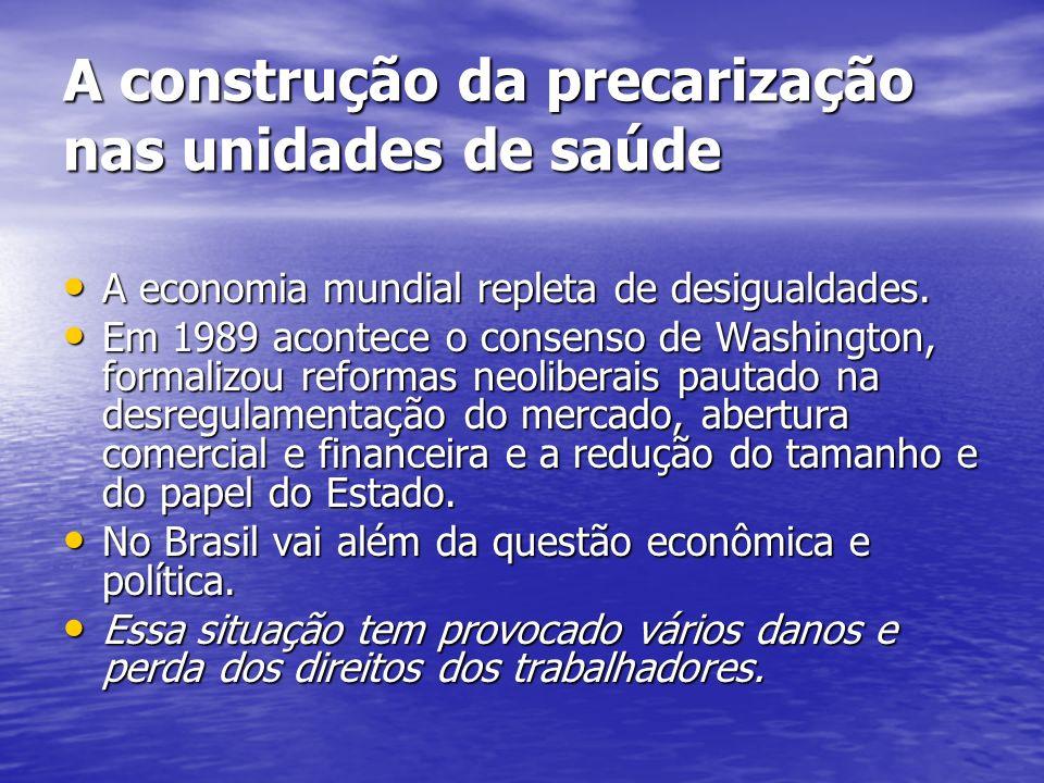 A construção da precarização nas unidades de saúde A economia mundial repleta de desigualdades. A economia mundial repleta de desigualdades. Em 1989 a