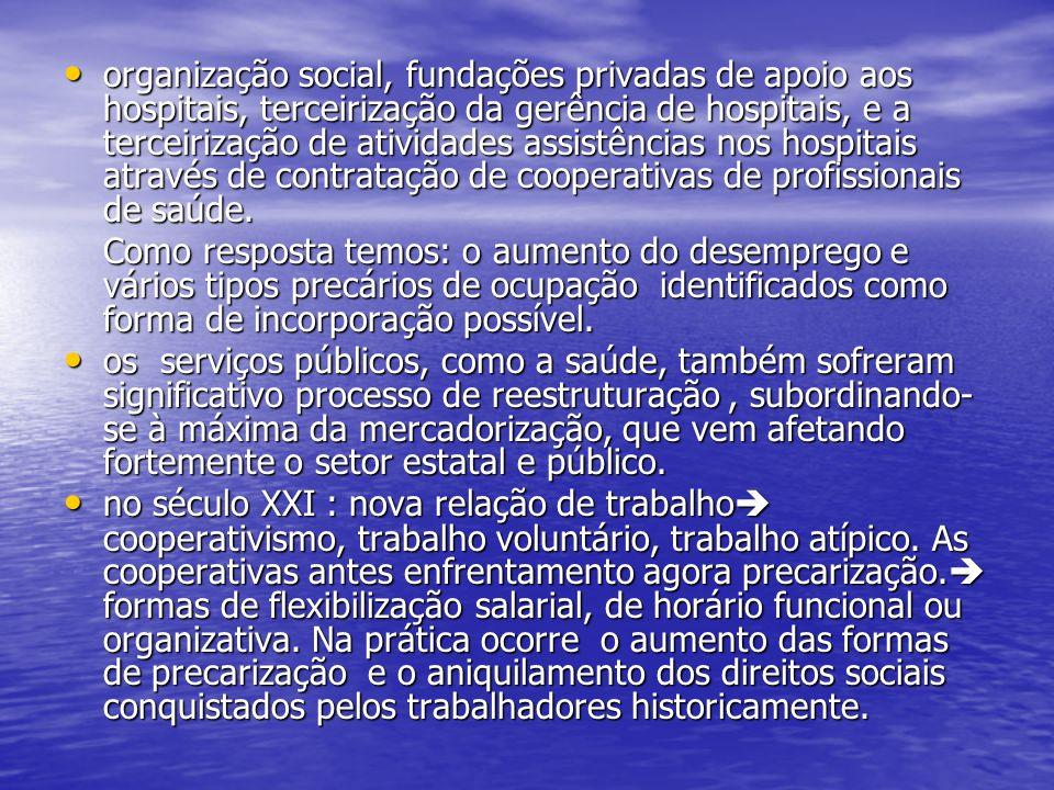 organização social, fundações privadas de apoio aos hospitais, terceirização da gerência de hospitais, e a terceirização de atividades assistências no
