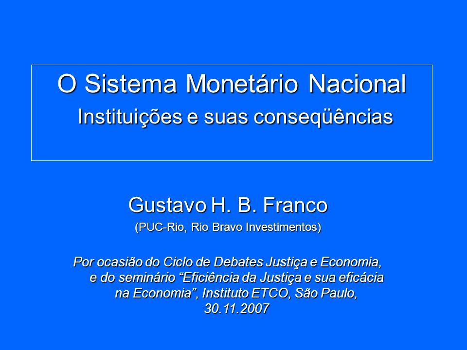O Sistema Monetário Nacional Instituições e suas conseqüências Gustavo H. B. Franco (PUC-Rio, Rio Bravo Investimentos) Por ocasião do Ciclo de Debates
