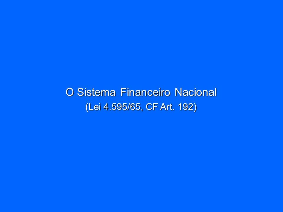 O Sistema Financeiro Nacional (Lei 4.595/65, CF Art. 192)