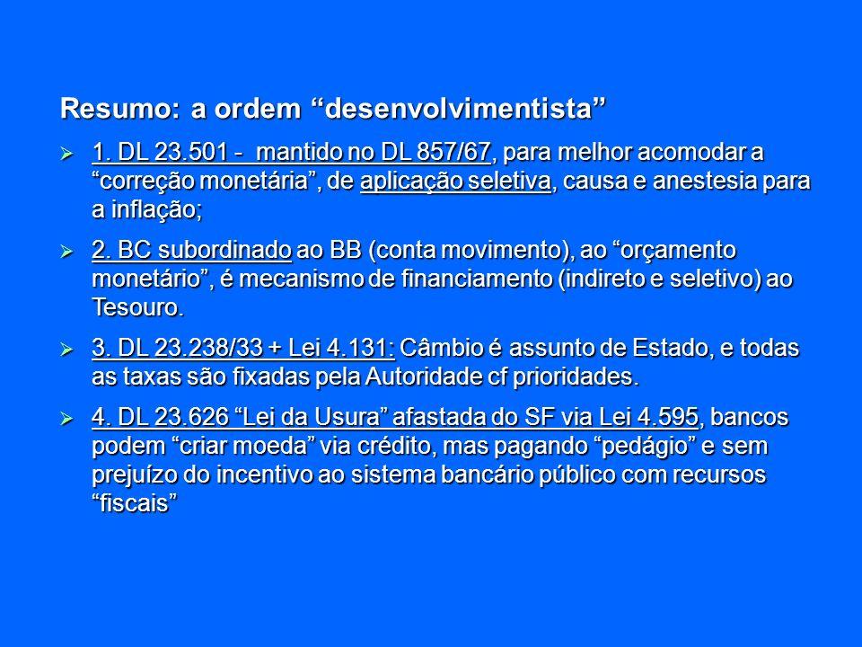 Resumo: a ordem desenvolvimentista 1. DL 23.501 - mantido no DL 857/67, para melhor acomodar a correção monetária, de aplicação seletiva, causa e anes