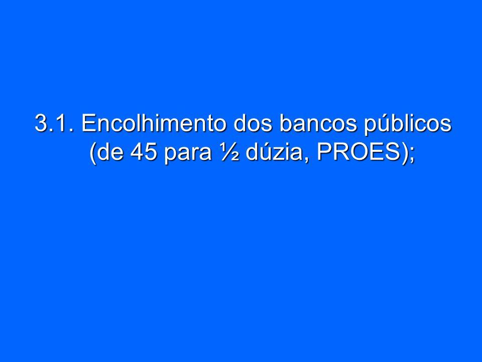 3.1. Encolhimento dos bancos públicos (de 45 para ½ dúzia, PROES);