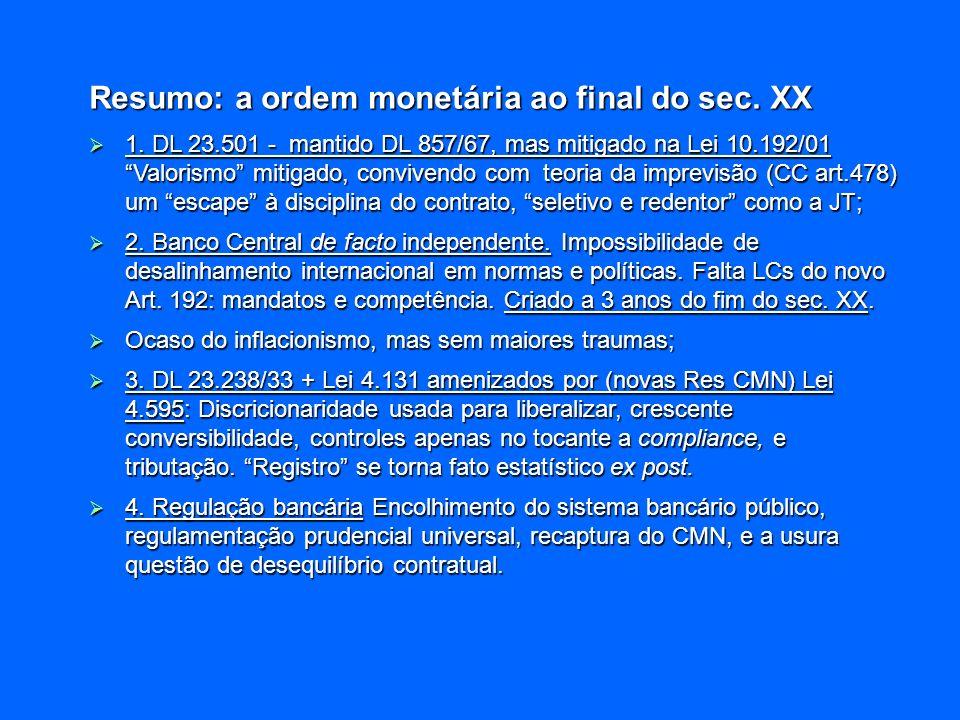 Resumo: a ordem monetária ao final do sec. XX 1. DL 23.501 - mantido DL 857/67, mas mitigado na Lei 10.192/01 Valorismo mitigado, convivendo com teori