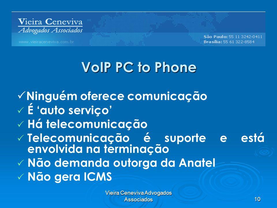 Vieira Ceneviva Advogados Associados10 VoIP PC to Phone Ninguém oferece comunicação É auto serviço Há telecomunicação Telecomunicação é suporte e está envolvida na terminação Não demanda outorga da Anatel Não gera ICMS
