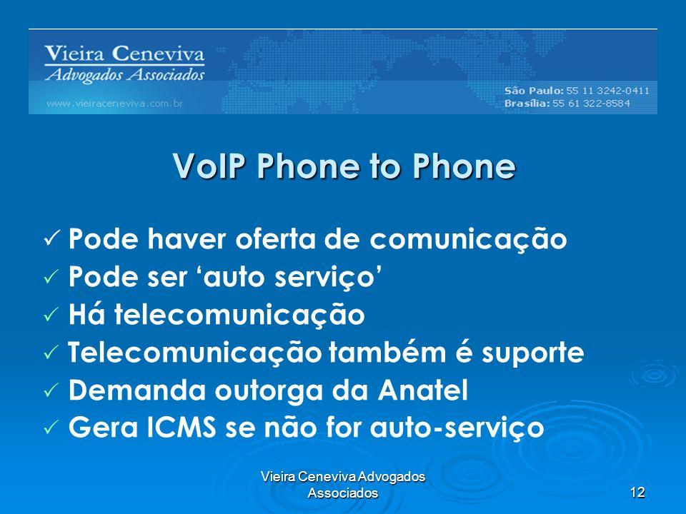 Vieira Ceneviva Advogados Associados12 VoIP Phone to Phone Pode haver oferta de comunicação Pode ser auto serviço Há telecomunicação Telecomunicação também é suporte Demanda outorga da Anatel Gera ICMS se não for auto-serviço