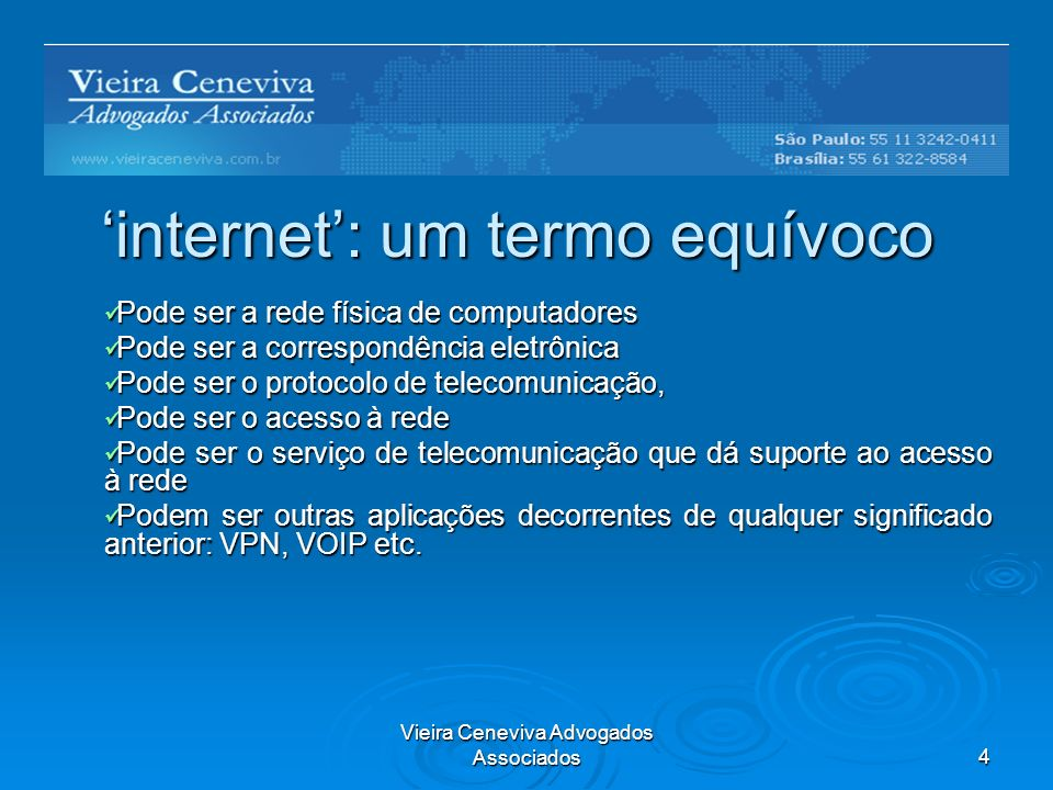 Vieira Ceneviva Advogados Associados15 VoIP como serviço telefônico fixo comutado (STFC) Corresponde à modalidade phone to phone, ou seja, o serviço envolve o encaminhamento de tráfego telefônico originado e terminado nas redes do STFC.