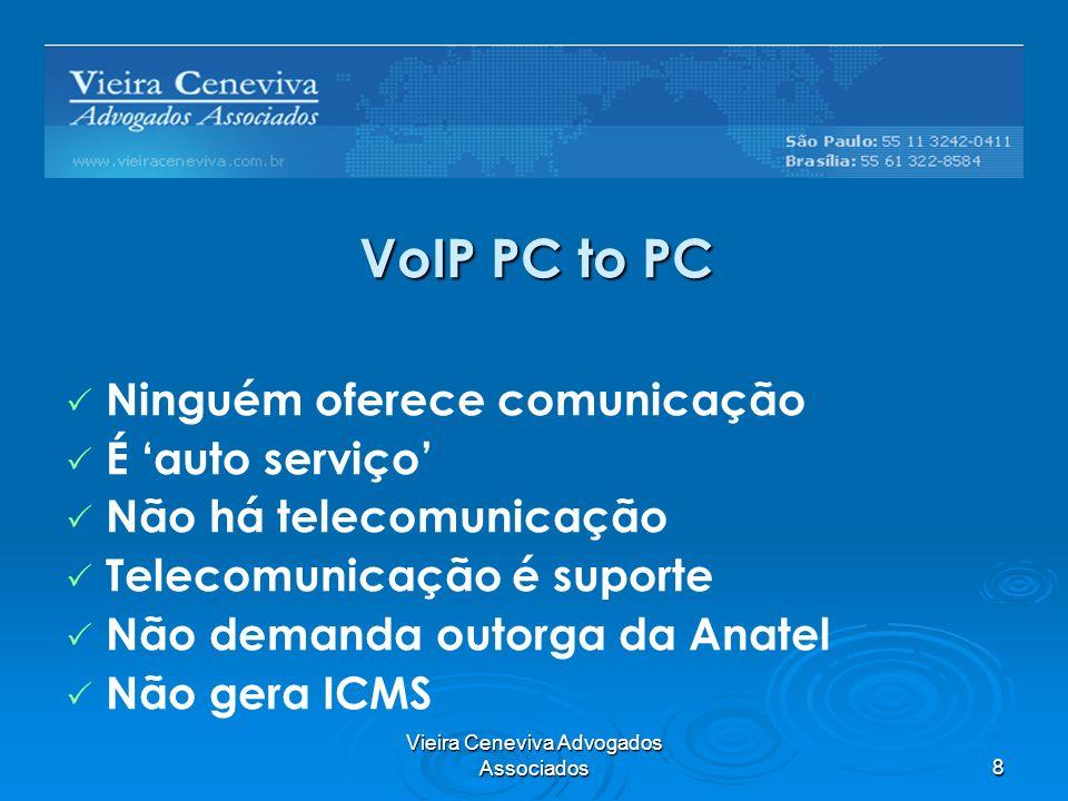 Vieira Ceneviva Advogados Associados8 VoIP PC to PC Ninguém oferece comunicação É auto serviço Não há telecomunicação Telecomunicação é suporte Não demanda outorga da Anatel Não gera ICMS