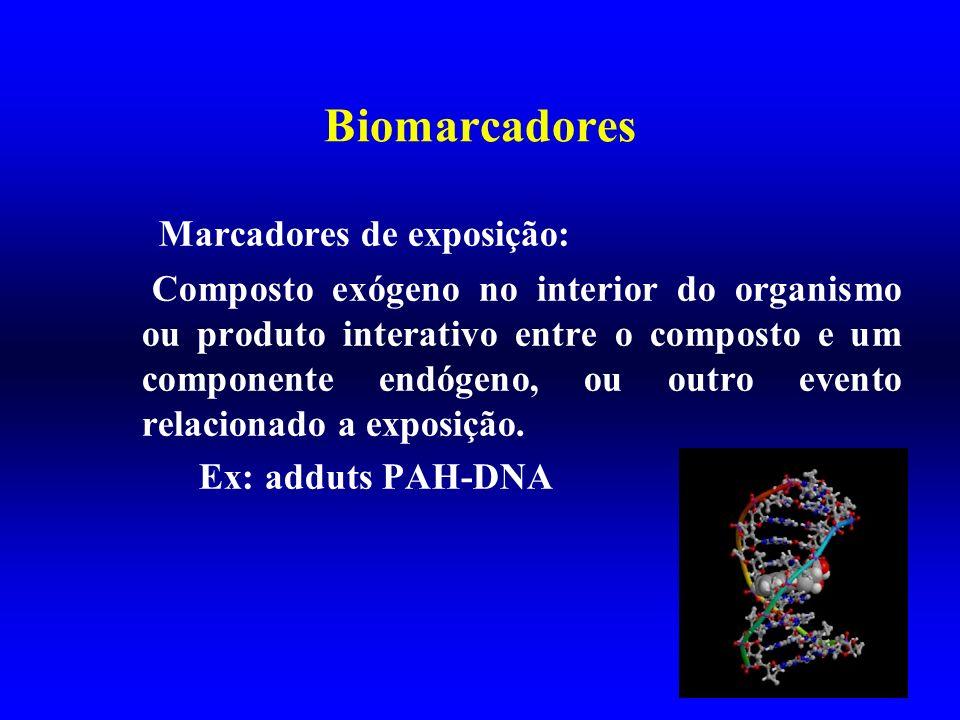 Biomarcadores Marcadores de exposição: Composto exógeno no interior do organismo ou produto interativo entre o composto e um componente endógeno, ou o