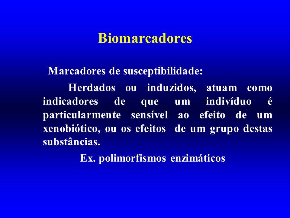 Biomarcadores Marcadores de susceptibilidade: Herdados ou induzidos, atuam como indicadores de que um indivíduo é particularmente sensível ao efeito d