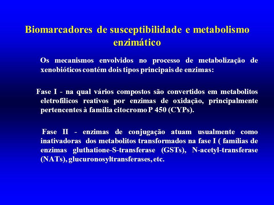 Biomarcadores de susceptibilidade e metabolismo enzimático Os mecanismos envolvidos no processo de metabolização de xenobióticos contém dois tipos pri