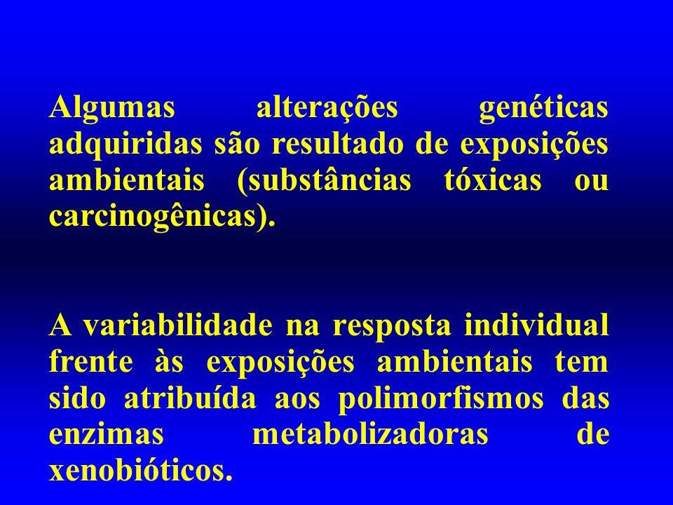 Algumas alterações genéticas adquiridas são resultado de exposições ambientais (substâncias tóxicas ou carcinogênicas). A variabilidade na resposta in