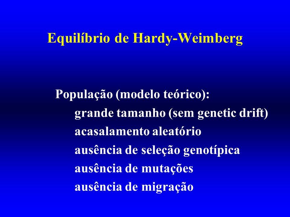 Equilíbrio de Hardy-Weimberg População (modelo teórico): grande tamanho (sem genetic drift) acasalamento aleatório ausência de seleção genotípica ausê
