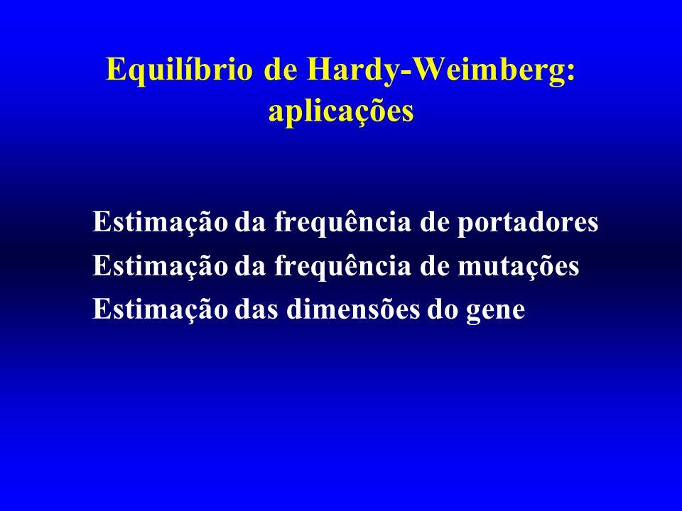 Equilíbrio de Hardy-Weimberg: aplicações Estimação da frequência de portadores Estimação da frequência de mutações Estimação das dimensões do gene