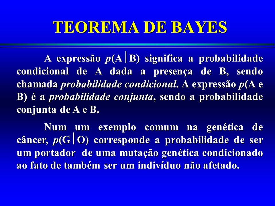 A expressão p(A B) significa a probabilidade condicional de A dada a presença de B, sendo chamada probabilidade condicional. A expressão p(A e B) é a