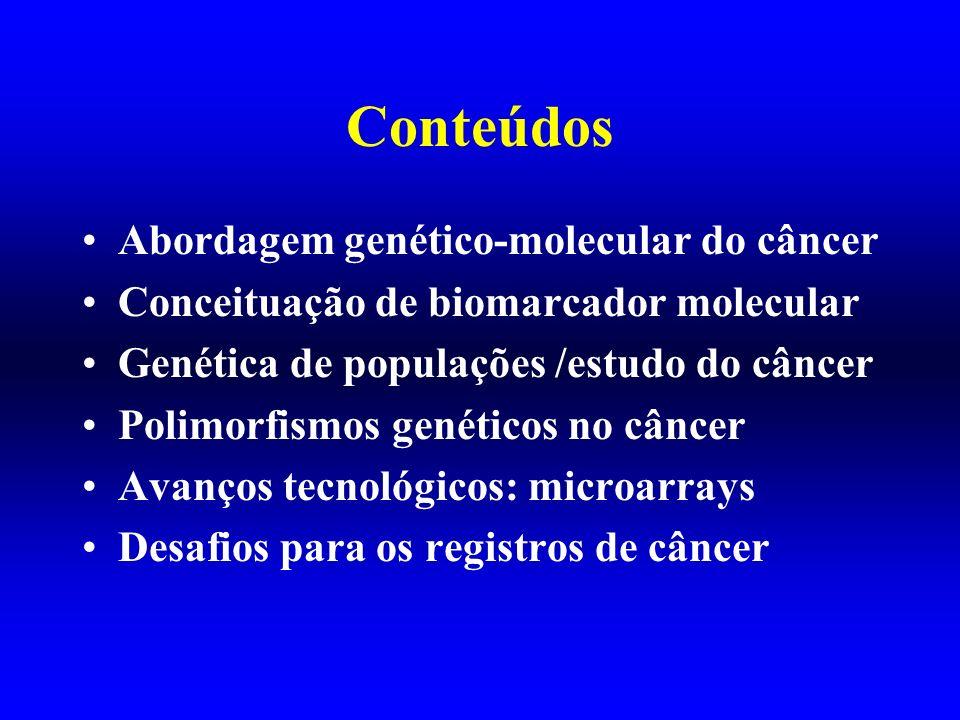 Conteúdos Abordagem genético-molecular do câncer Conceituação de biomarcador molecular Genética de populações /estudo do câncer Polimorfismos genético
