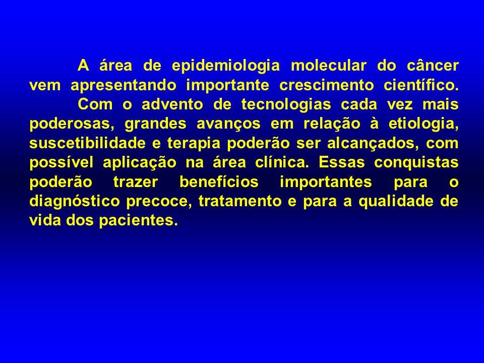 A área de epidemiologia molecular do câncer vem apresentando importante crescimento científico. Com o advento de tecnologias cada vez mais poderosas,