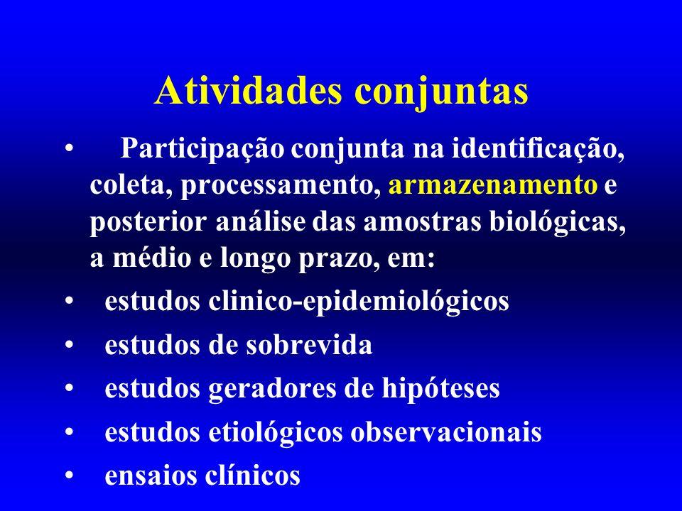 Atividades conjuntas Participação conjunta na identificação, coleta, processamento, armazenamento e posterior análise das amostras biológicas, a médio