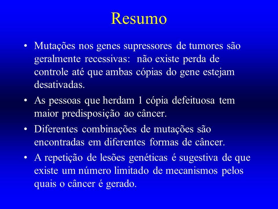 Resumo Mutações nos genes supressores de tumores são geralmente recessivas: não existe perda de controle até que ambas cópias do gene estejam desativa