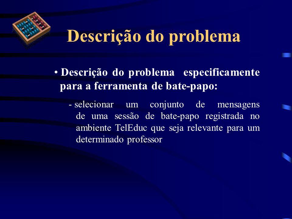 Descrição do problema Descrição do problema especificamente para a ferramenta de bate-papo: - selecionar um conjunto de mensagens de uma sessão de bat