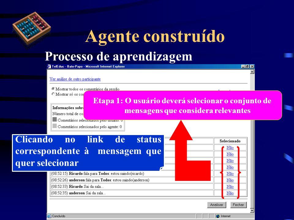 Agente construído Processo de aprendizagem Etapa 1: O usuário deverá selecionar o conjunto de mensagens que considera relevantes Clicando no link de s