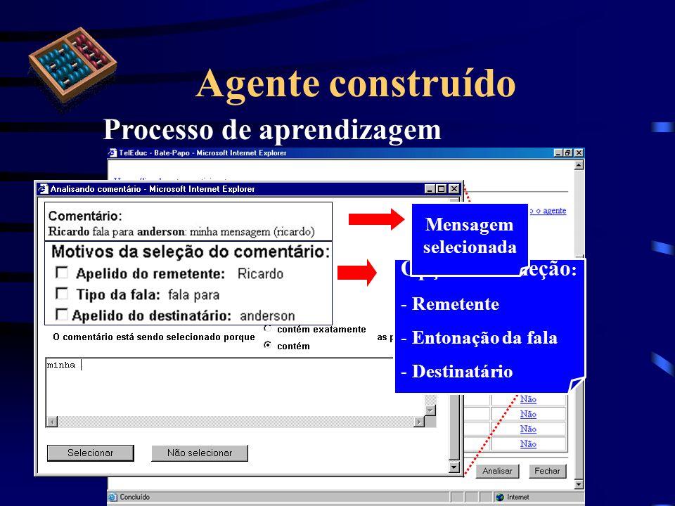 Agente construído Processo de aprendizagem Opções de seleção : - Remetente - Entonação da fala - Destinatário Mensagem selecionada