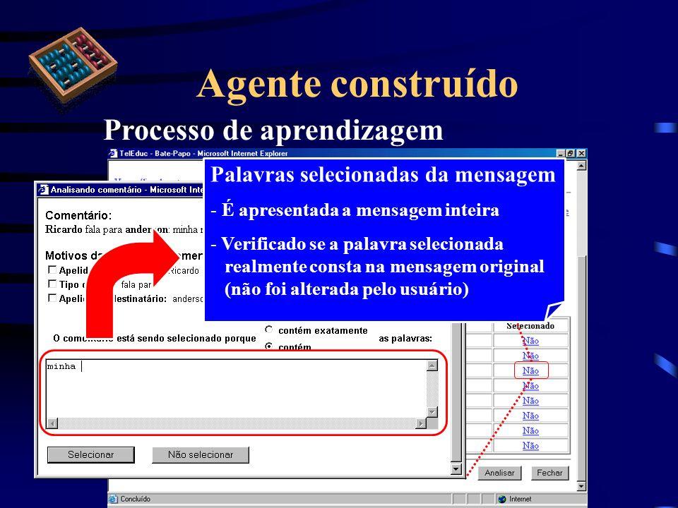 Agente construído Processo de aprendizagem Palavras selecionadas da mensagem - É apresentada a mensagem inteira - Verificado se a palavra selecionada