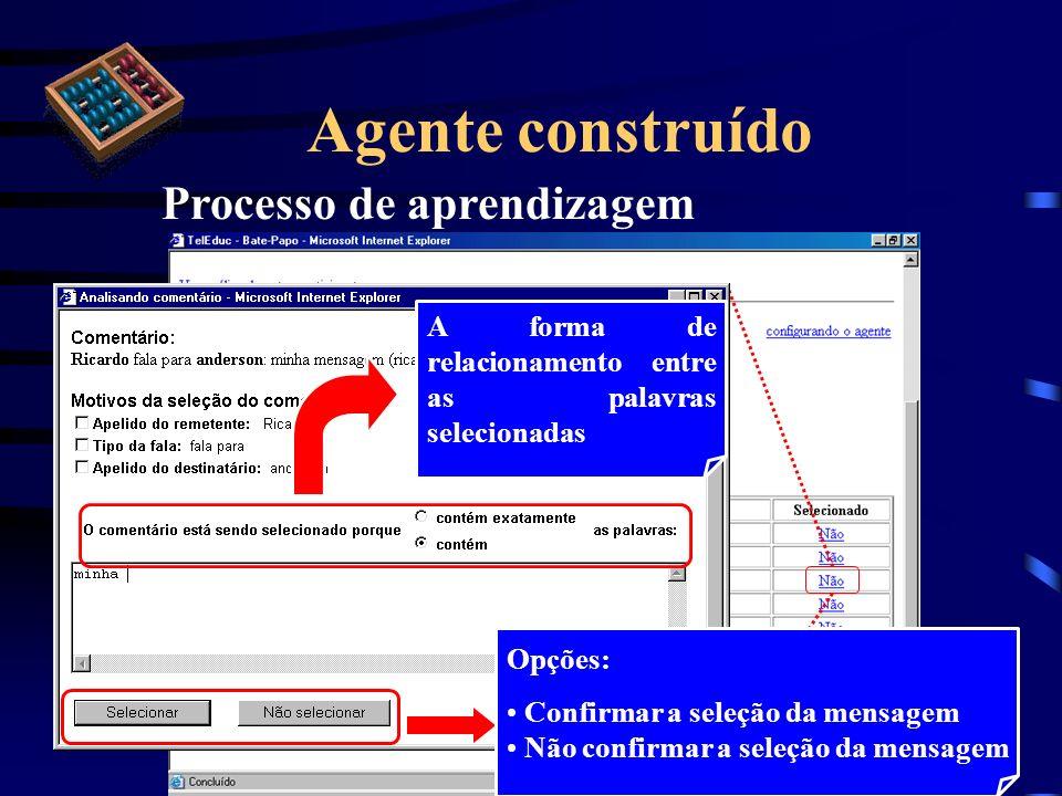 Agente construído Processo de aprendizagem A forma de relacionamento entre as palavras selecionadas Opções: Confirmar a seleção da mensagem Não confir