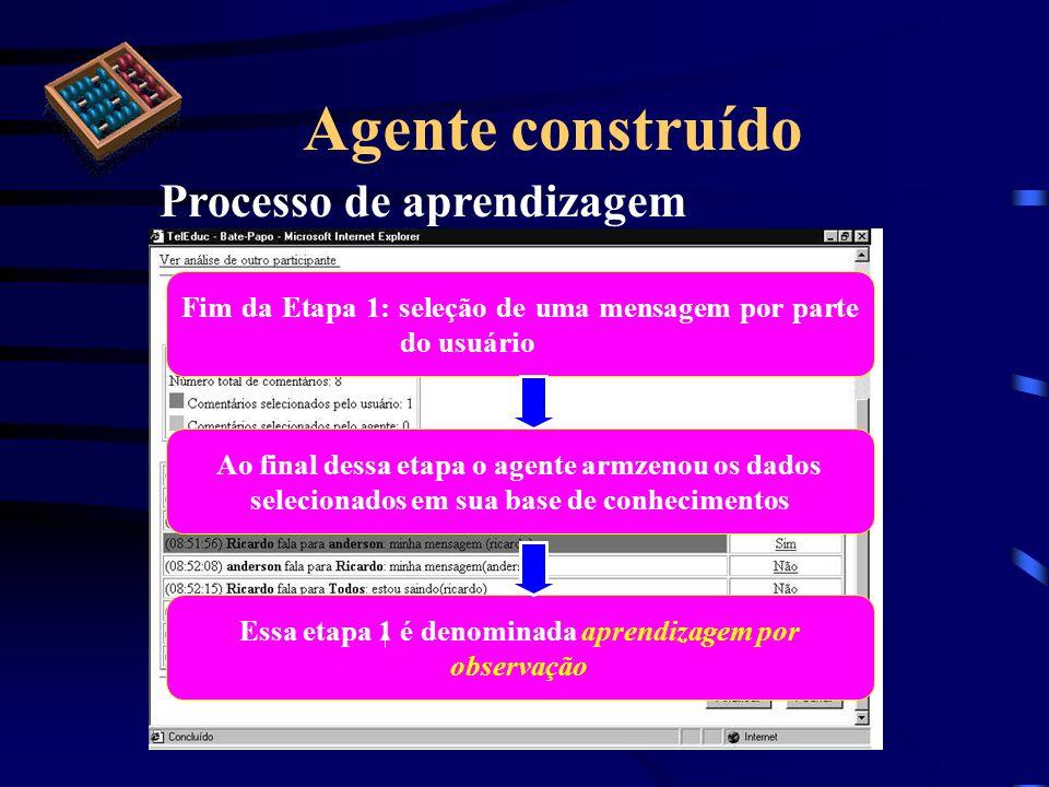 Agente construído Processo de aprendizagem Essa etapa 1 é denominada aprendizagem por observação Fim da Etapa 1: seleção de uma mensagem por parte do
