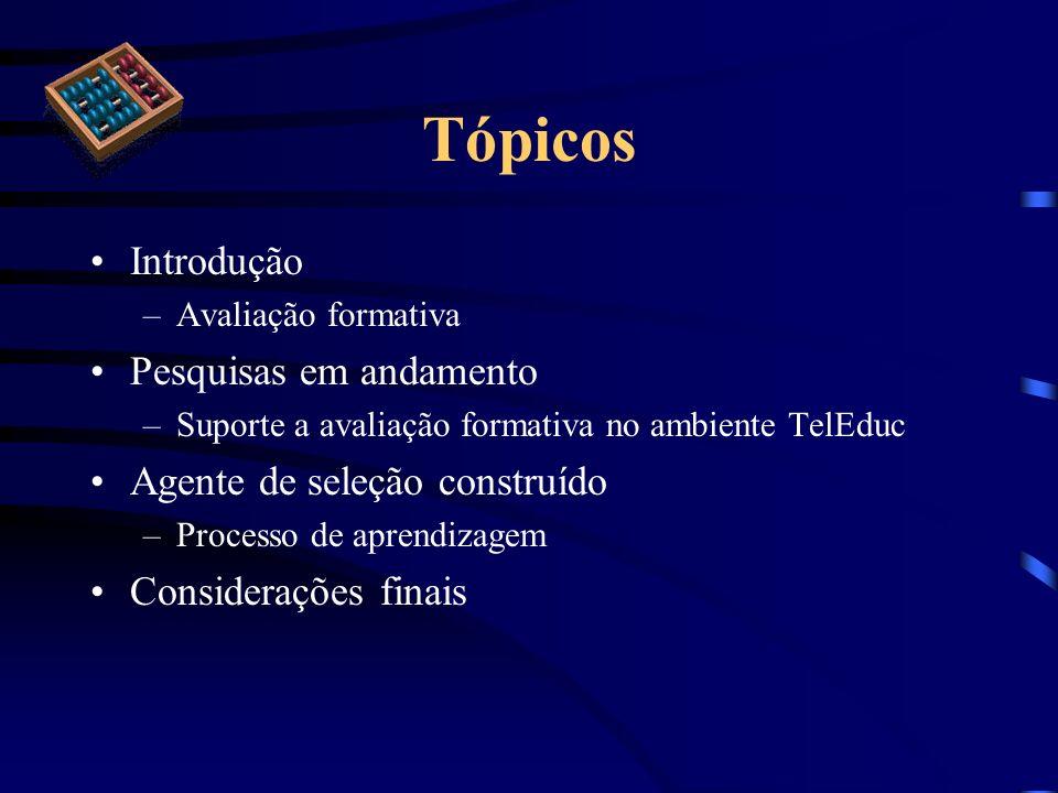 Tópicos Introdução –Avaliação formativa Pesquisas em andamento –Suporte a avaliação formativa no ambiente TelEduc Agente de seleção construído –Proces
