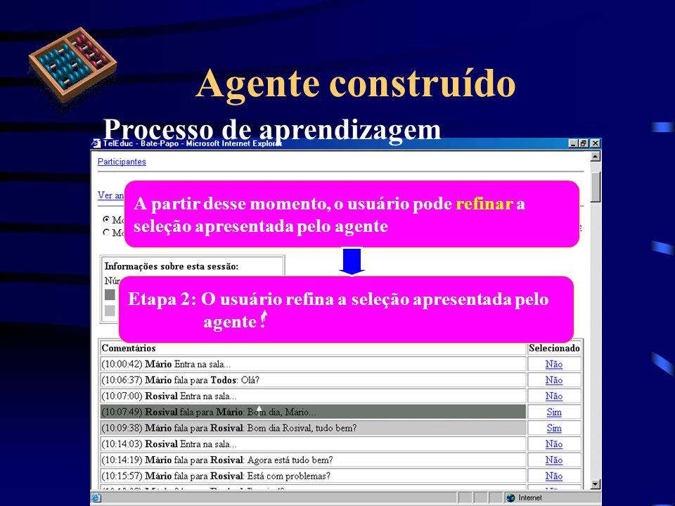 Agente construído Processo de aprendizagem Etapa 2: O usuário refina a seleção apresentada pelo agente ! A partir desse momento, o usuário pode refina