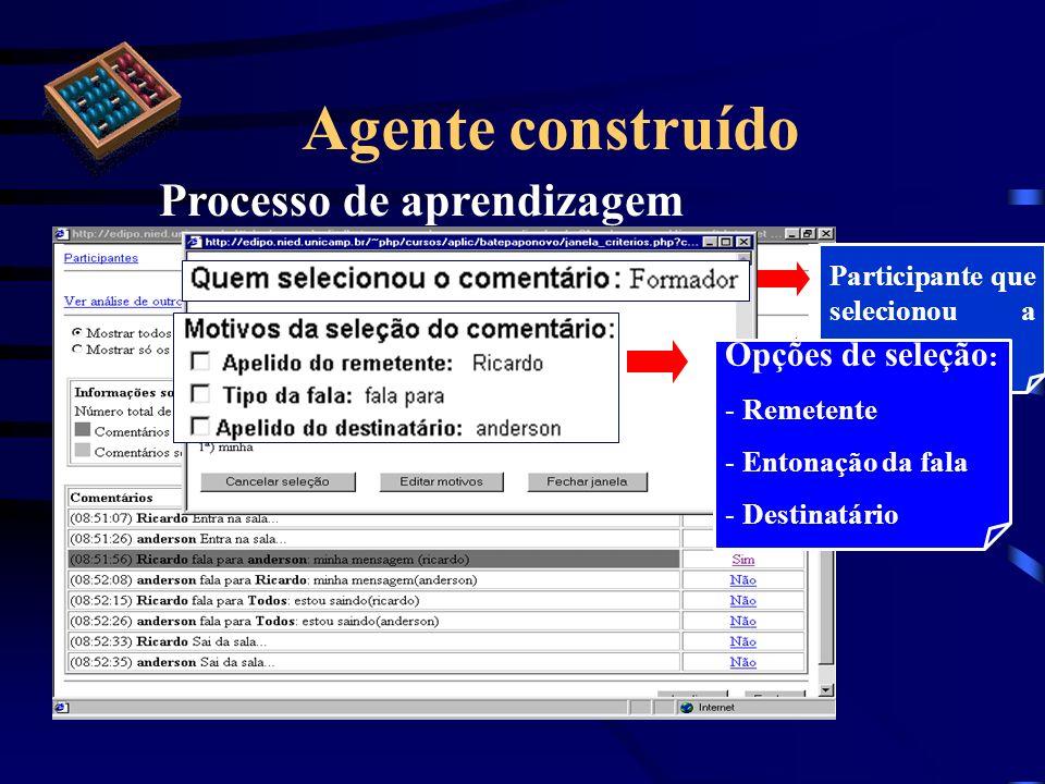 Agente construído Processo de aprendizagem Participante que selecionou a mensagem Opções de seleção : - Remetente - Entonação da fala - Destinatário