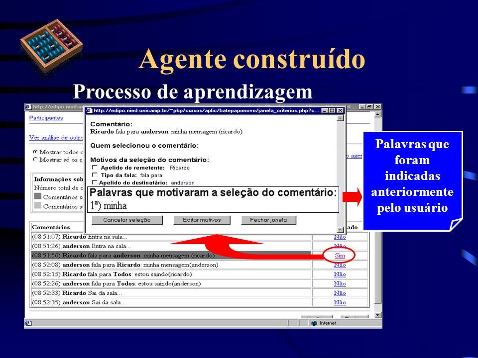 Agente construído Processo de aprendizagem Palavras que foram indicadas anteriormente pelo usuário