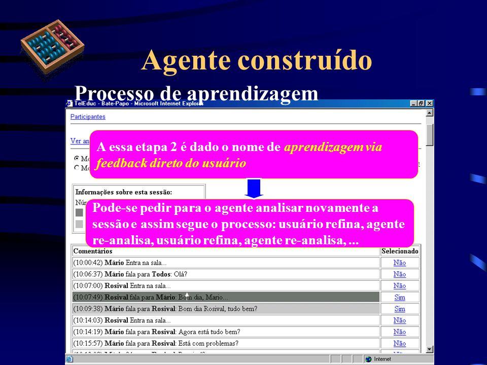 Agente construído Processo de aprendizagem A essa etapa 2 é dado o nome de aprendizagem via feedback direto do usuário Pode-se pedir para o agente ana