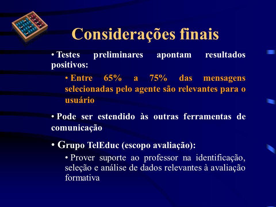 Considerações finais Testes preliminares apontam resultados positivos: Entre 65% a 75% das mensagens selecionadas pelo agente são relevantes para o us