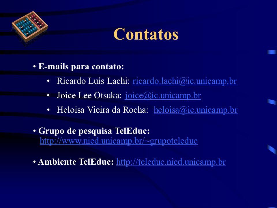 Contatos E-mails para contato: Ricardo Luís Lachi: ricardo.lachi@ic.unicamp.brricardo.lachi@ic.unicamp.br Joice Lee Otsuka: joice@ic.unicamp.brjoice@i