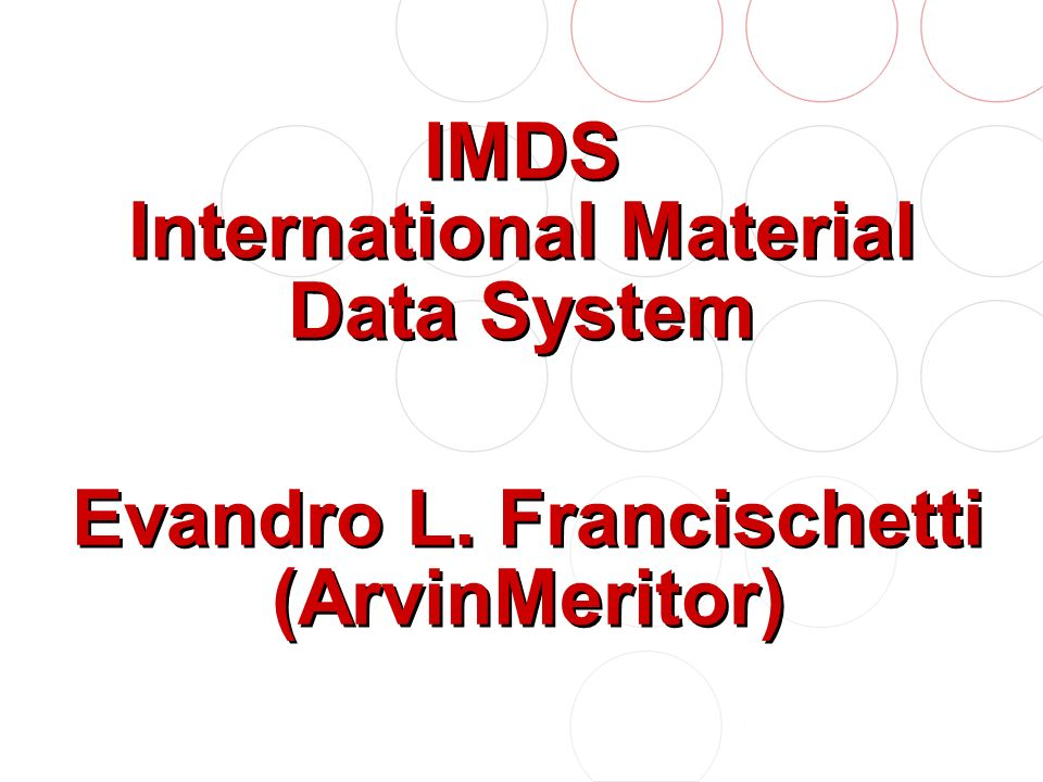 O que as Autopeças esperam do IMDS .