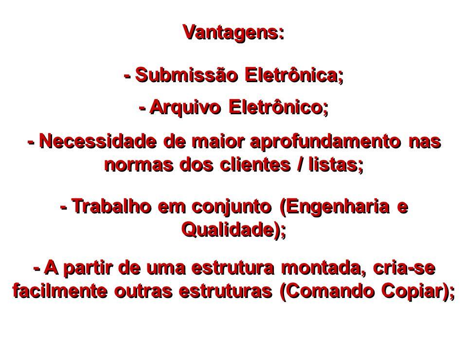 Vantagens: - Submissão Eletrônica; - Arquivo Eletrônico; - Necessidade de maior aprofundamento nas normas dos clientes / listas; - Trabalho em conjunt