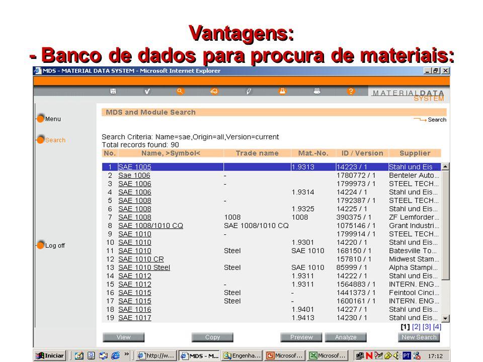 Vantagens: - Banco de dados para procura de materiais:
