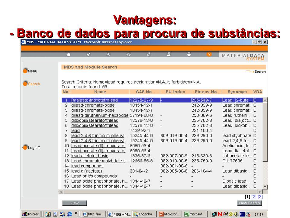 Vantagens: - Banco de dados para procura de substâncias: