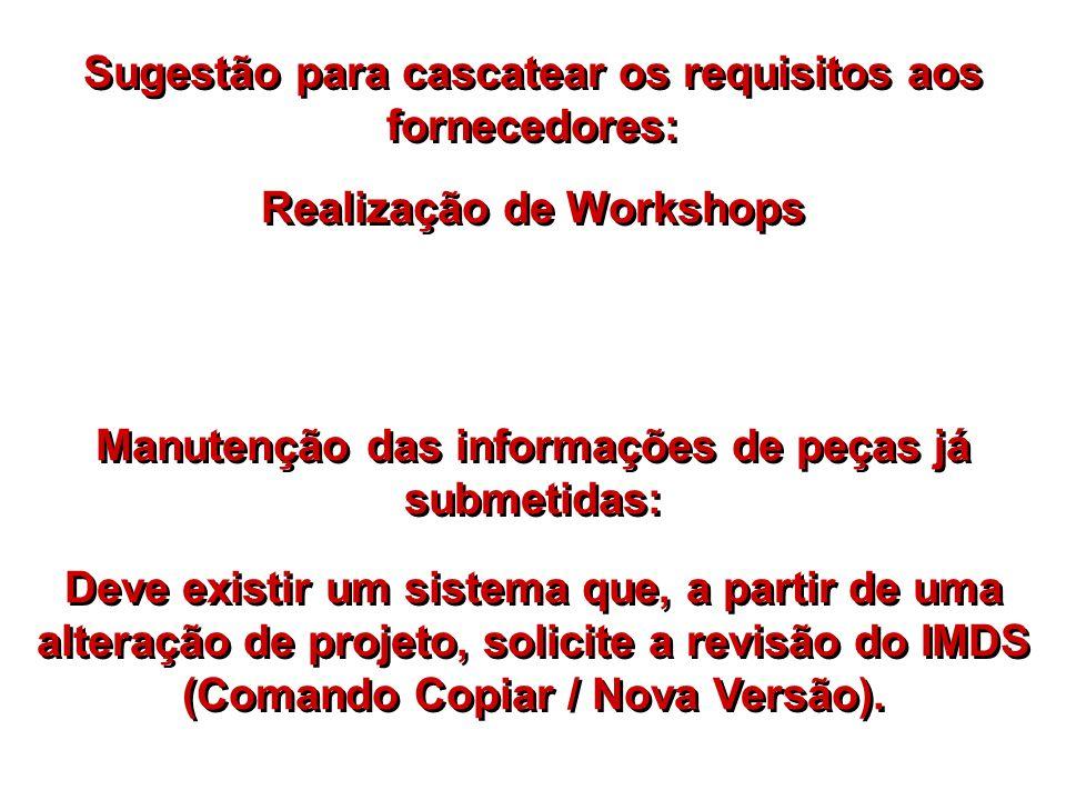 Sugestão para cascatear os requisitos aos fornecedores: Realização de Workshops Manutenção das informações de peças já submetidas: Deve existir um sis
