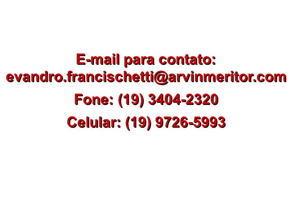 E-mail para contato: evandro.francischetti@arvinmeritor.com Fone: (19) 3404-2320 Celular: (19) 9726-5993 E-mail para contato: evandro.francischetti@ar