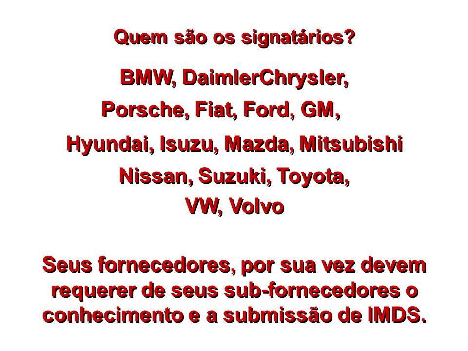 Quem são os signatários? BMW, DaimlerChrysler, Porsche, Fiat, Ford, GM, Hyundai, Isuzu, Mazda, Mitsubishi Nissan, Suzuki, Toyota, VW, Volvo Seus forne
