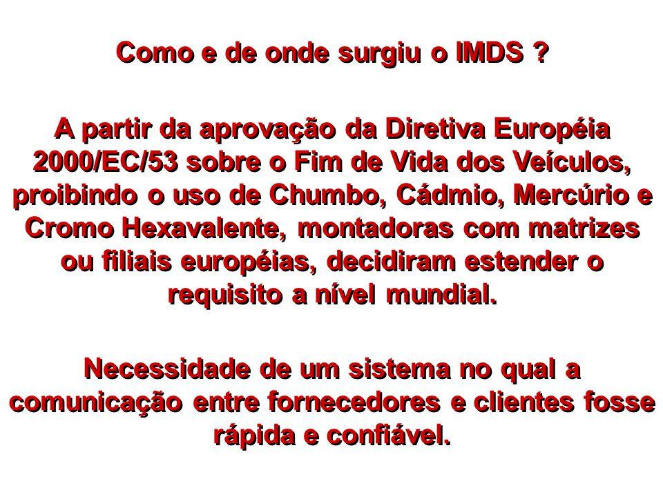 Como e de onde surgiu o IMDS ? A partir da aprovação da Diretiva Européia 2000/EC/53 sobre o Fim de Vida dos Veículos, proibindo o uso de Chumbo, Cádm