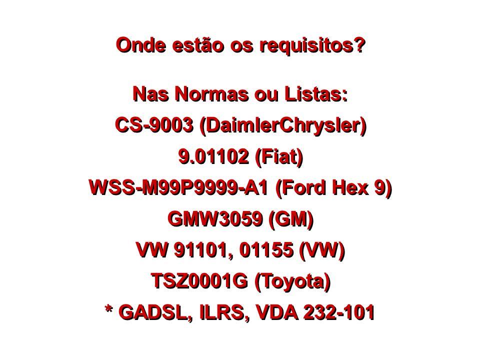 Onde estão os requisitos? Nas Normas ou Listas: CS-9003 (DaimlerChrysler) 9.01102 (Fiat) WSS-M99P9999-A1 (Ford Hex 9) GMW3059 (GM) VW 91101, 01155 (VW