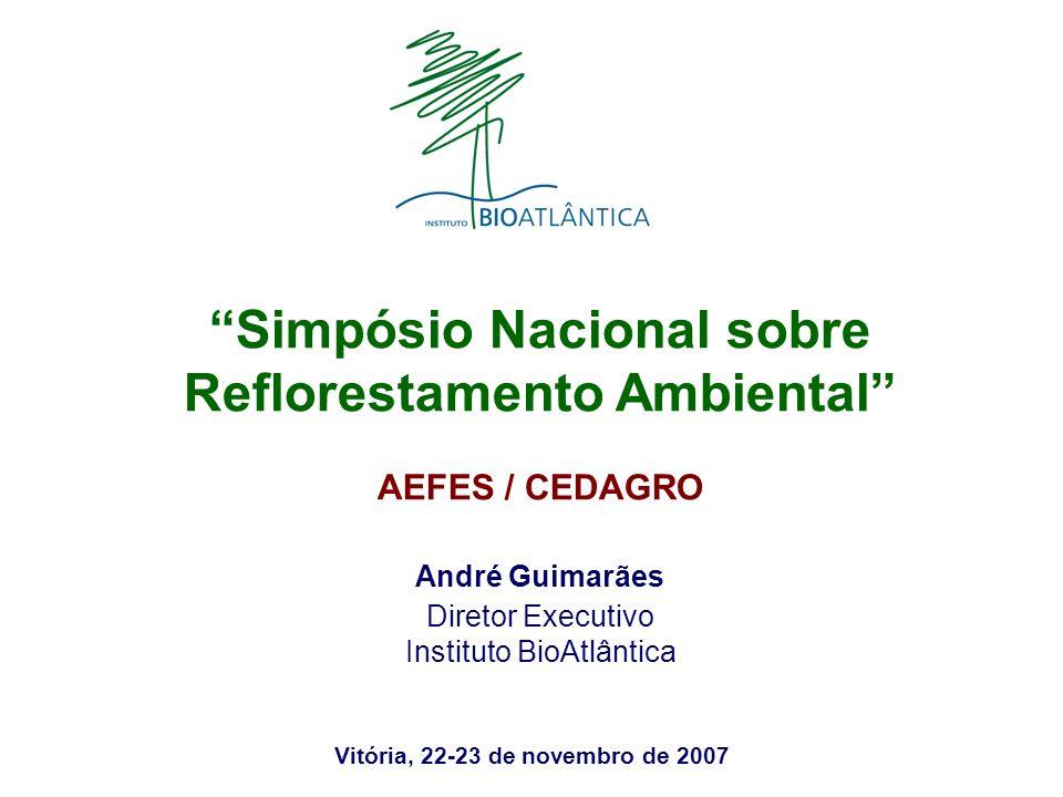 Vitória, 22-23 de novembro de 2007 Simpósio Nacional sobre Reflorestamento Ambiental AEFES / CEDAGRO André Guimarães Diretor Executivo Instituto BioAt