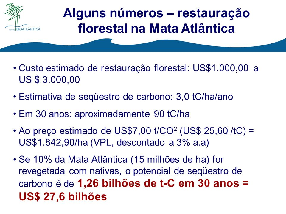 Alguns números – restauração florestal na Mata Atlântica Custo estimado de restauração florestal: US$1.000,00 a US $ 3.000,00 Estimativa de seqüestro