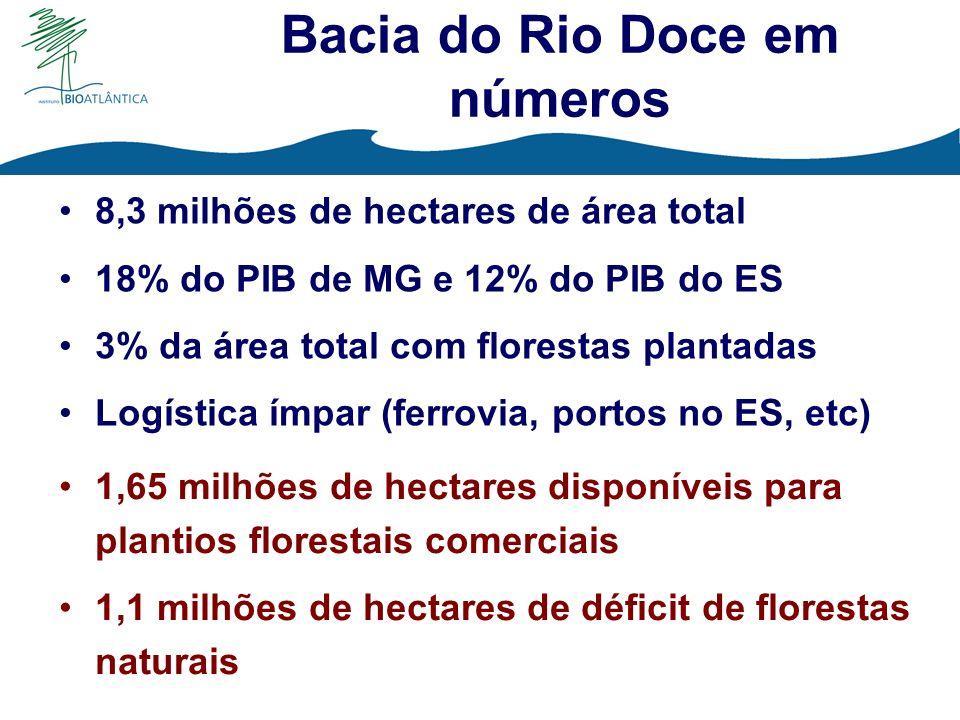8,3 milhões de hectares de área total 18% do PIB de MG e 12% do PIB do ES 3% da área total com florestas plantadas Logística ímpar (ferrovia, portos n