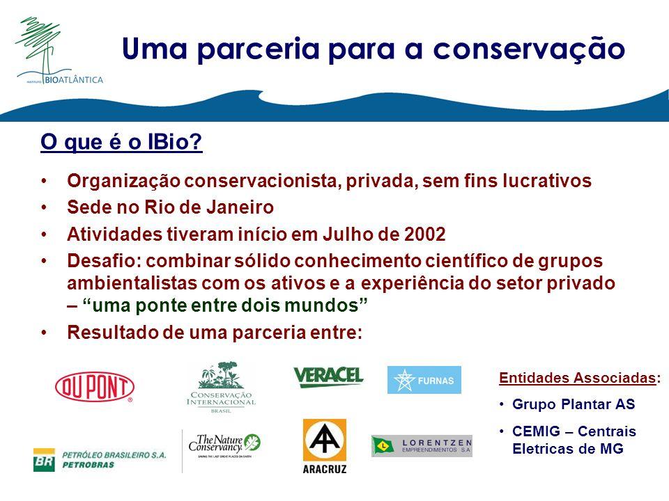 O que é o IBio? Organização conservacionista, privada, sem fins lucrativos Sede no Rio de Janeiro Atividades tiveram início em Julho de 2002 Desafio: