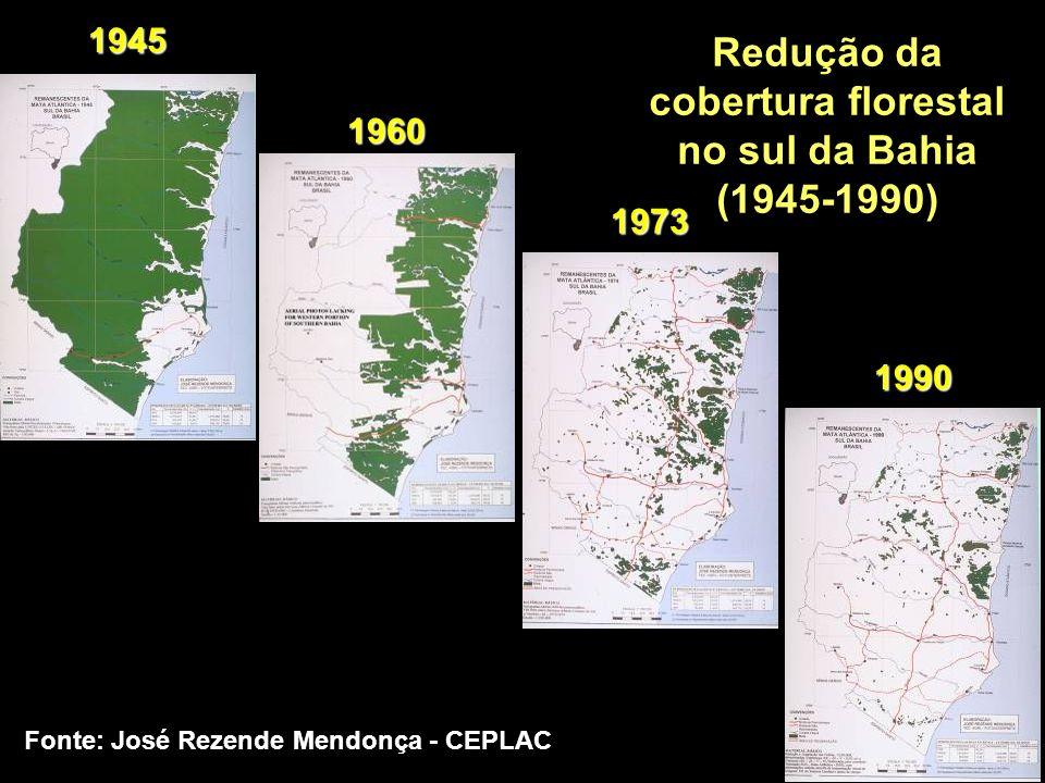 19 o 20S;42 o 22W Redução da vazão média do Rio Doce 1939-2001 Fonte: Barbosa et al, 2004