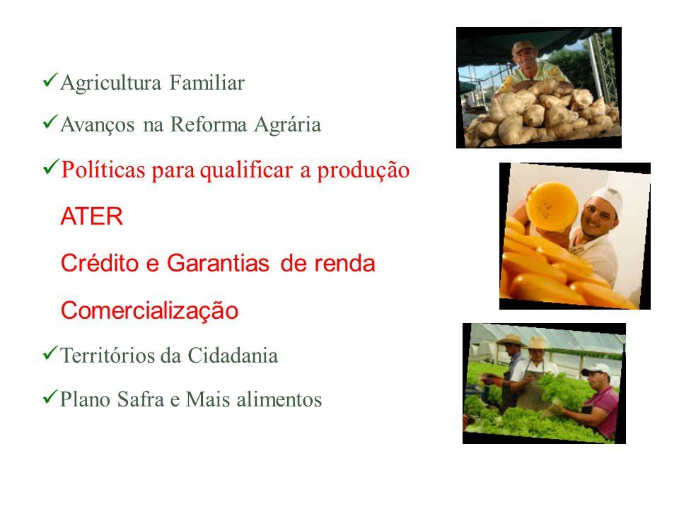 Agricultura Familiar Avanços na Reforma Agrária Políticas para qualificar a produção ATER Crédito e Garantias de renda Comercialização Territórios da